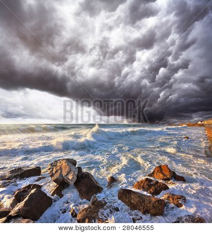A terrible storm and lightning over the raging surf. Mediterranean Sea, Israel