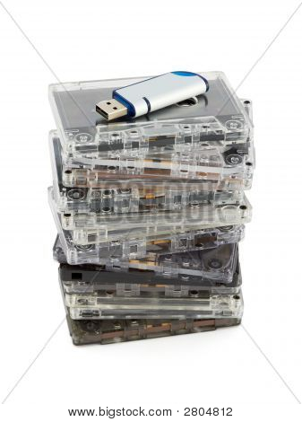 Stack Of Audio Cassettes And Flash Memory
