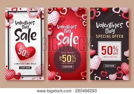 poster of Valentines Day Sale Vector Poster Template Set. Valentines Day Sale Text With Hearts Elements In Red