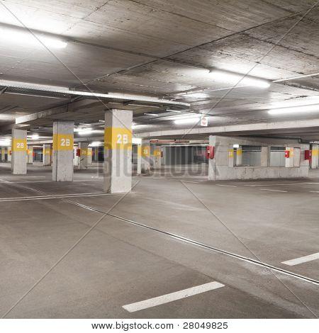 Empty underground  parking lot area