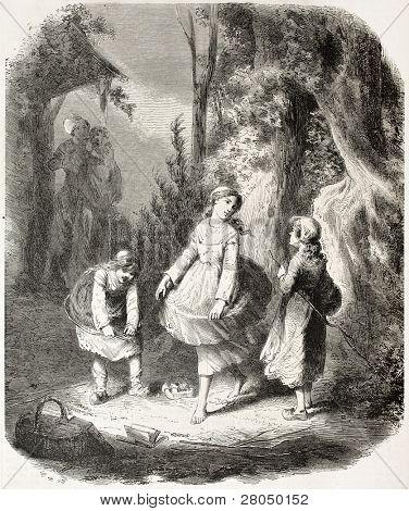 Girls creating crinoline old illustration. Created by Janet-Lange after Vaumort, published on L'Illustration, Journal Universel, Paris, 1858