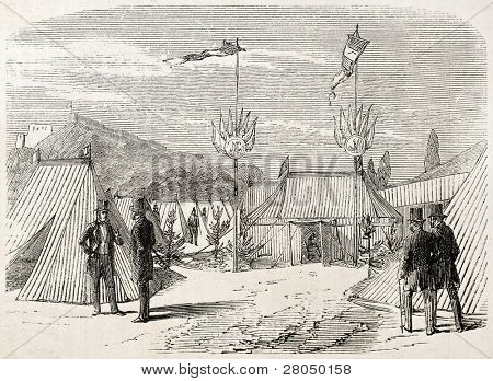 Locomotive blessing ceremony in Cherburg: Encampment reading study. Created by Goddur, published on L'Illustration, Journal Universel, Paris, 1858