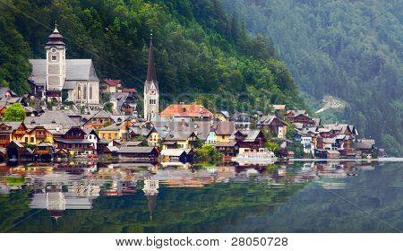 The Hallstatt city in Salzkammergut. Austria, Europe.