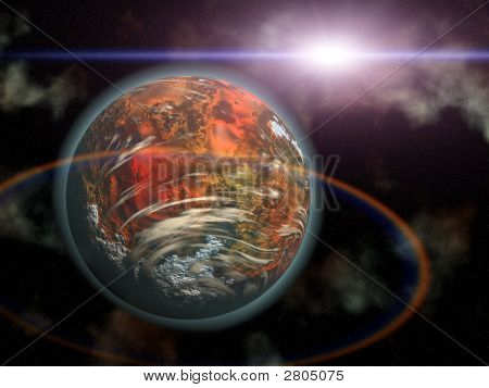 Red Planet And Alien Sun In Space