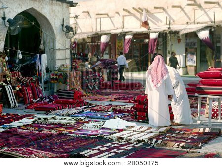 A view of Souq Waqif, Qatar, early in the morning, with flags flyiing in preparation for national day celebrations.
