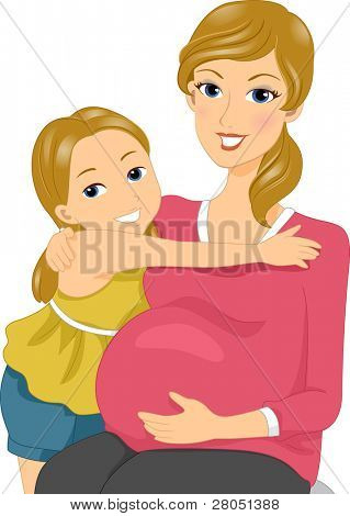 Illustration of a Mother and Daughter Cuddlng