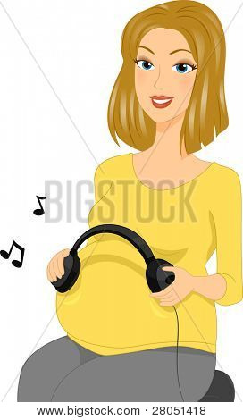Illustration of a Pregnant Woman Holding a Pair of Headphones