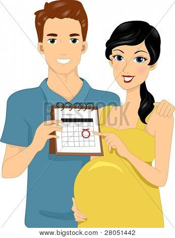 Illustration of Expecting Parents Pointing to Calendar