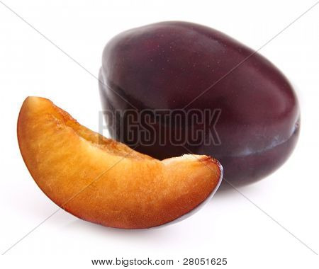 Sweet plum with slice. Use it for a health and nutrition concept.