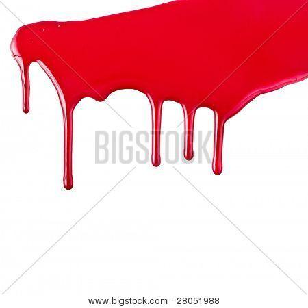 roter Farbe tropft isolierten auf weißen Hintergrund