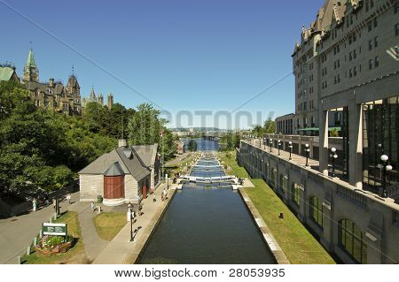 UNESCO World Heritage Site Rideau Canal Waterway in Ottawa, Ontario, Canada