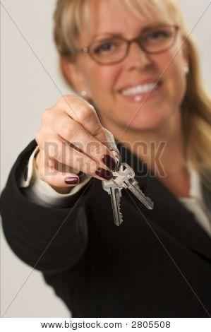 Woman Presenting Keys