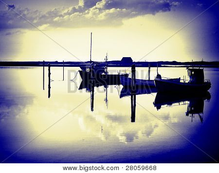 Magical Reflection Of A Small Dinghy Dory Boats Digital Art