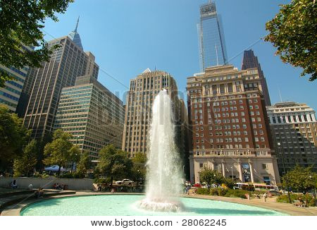 LOVE Park and JFK Plaza fountain