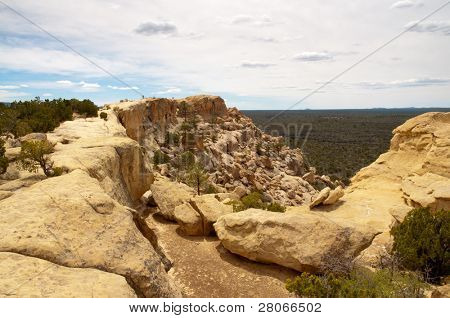 sandstone cliffs and lava fields