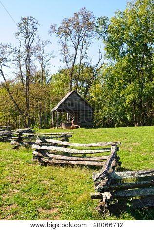 Zebulon Vance Birthplace State Historic Site farm buildings and fence