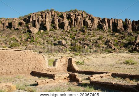 ruins and Davis Mountains at Fort Davis National Historic Site