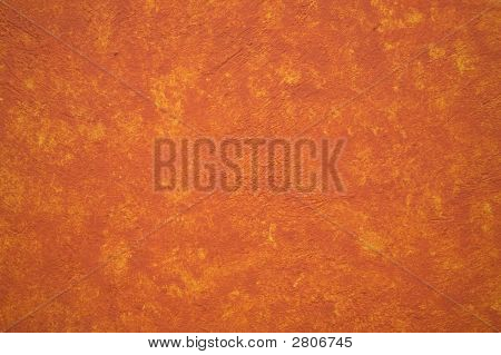 Bright Vibrant Orange Yellow Adobe Wall Mexico