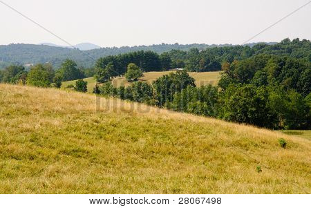 view of high elevation fields and hills from Sky Meadows State Park