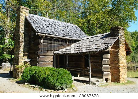 Oconaluftee Mountain Farm Museum farmhouse