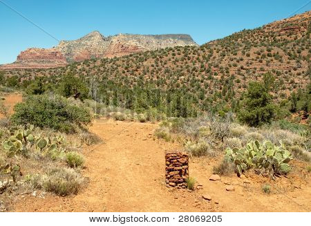 rock trail marker pile an Sedona buttes
