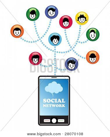 Social networking concept. Social networking via the smartphone.