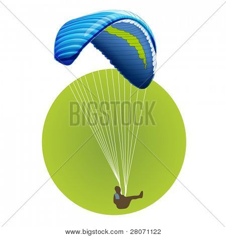 Sport green round icons: parachute