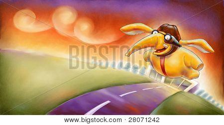 flying yellow elephant