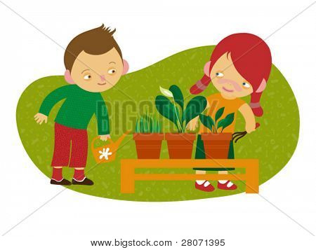 vector illustration of gardening