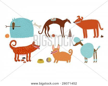 orange-blue vector dogs set