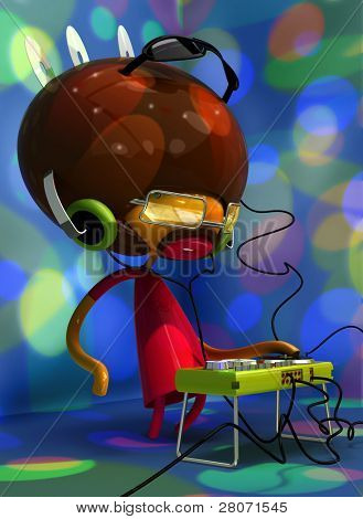 3D illustration of dj with stand