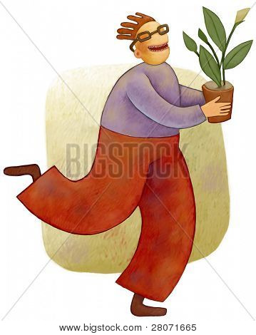 Happy man with flower