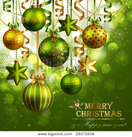 Christmas background with green and golden baubles. Vector illustration.