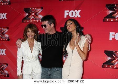 LOS ANGELES - DEC 19:  Paula Abdul, Simon Cowell, Nicole Scherzinger at the FOX's