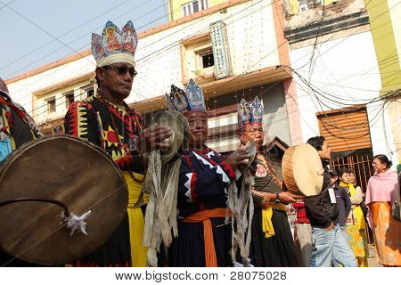 KATHMANDU, NEPAL - DECEMBER 30: Nepalese caste Gurung celebrate their traditional New Year December 30, 2008 in Kathmandu, Nepal. The procession in traditional costumes goes around the city.