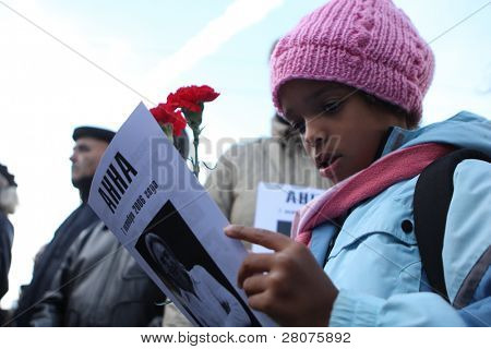 MOSCOW, RUSSIA - OCTOBER 7: During the meeting on Clean Ponds, on the third anniversary of the death (The murder remains unsolved) of journalist Anna Politkovskaya, October 7, 2009 in Moscow, Russia.