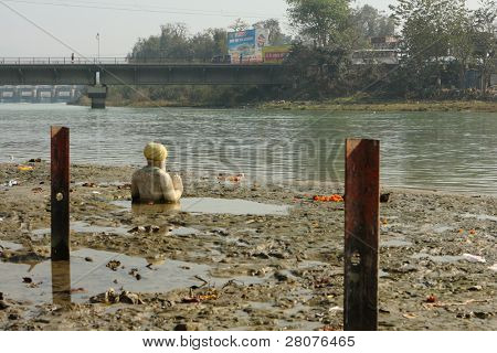 HARIDWAR, INDIA - JANUARY 14: Ganga river after festival of Kumbha Mela, huge Religious festival regarding Sun and Harvest, January 14, 2009 in Haridwar, India.