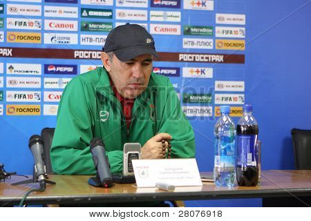 TOMSK, RUSSIA - SEPTEMBER 20: Kurban Berdyev - head coach of FC Rubin (Kazan), at a press conference after the match Tom'(Tomsk) - Rubin (Kazan), September 20, 2009 in Tomsk, Russia.