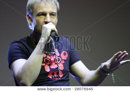 TOMSK, RUSSIA - JUNE 6: Roman Chernitsyn - frontman of disco group