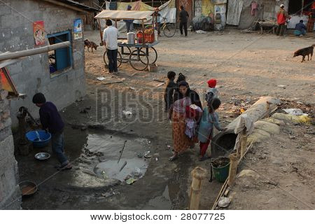 KATHMANDU, NEPAL - JANUARY 7: A generic view of a poor housing area at Old Baneshwor near Bagmati river January 7, 2009 in Kathmandu Nepal.