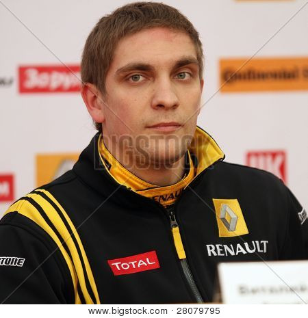 MOSCOW, RUSSIA - FEBRUARY 23: Russia racing driver, pilot of Renault F1 Team Vitaly Petrov during the press conference on 21st traditional