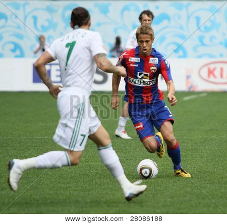 MOSCOW - MAY 10: CSKAs Keisuke Honda (R) in action during their teams Russian football championship game CSKA (Moscow) vs. Terek (Grozny) - (4:1), May 10, 2010 in Moscow, Russia.