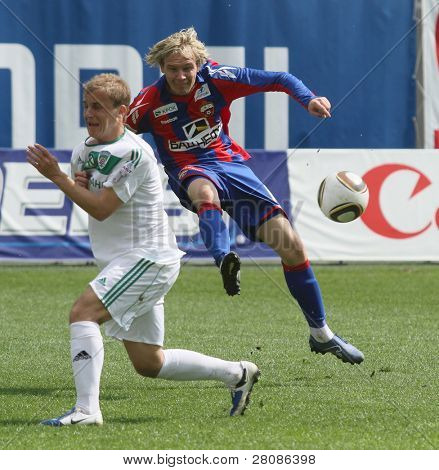 MOSCOW - MAY 10: CSKA's Milos Krasic (R) in action during their team's Russian football championship game CSKA (Moscow) vs. Terek (Grozny) - (4:1), May 10, 2010 in Moscow, Russia.
