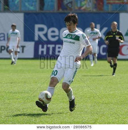MOSCOW - MAY 10: Terek's Rizwan Utsiev in action during their team's Russian football championship game CSKA (Moscow) vs. Terek (Grozny) - (4:1), May 10, 2010 in Moscow, Russia.