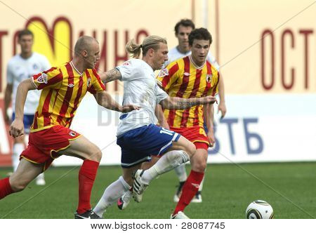 MOSCOW - MAY 15: Dinamo's forward Andrei Voronin (C) in a game of the 11th round of Russian Football Premier League - Dinamo Moscow vs. Alania Vladikavkaz - 2:0, May 15, 2010 in Moscow, Russia.