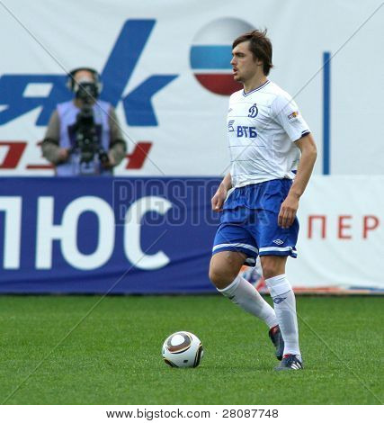 MOSCOW - MAY 15: Dinamo's defender Aleksandr Epurjanu in a game of the 11th round of Russian Football Premier League - Dinamo Moscow vs. Alania Vladikavkaz - 2:0, May 15, 2010 in Moscow, Russia.