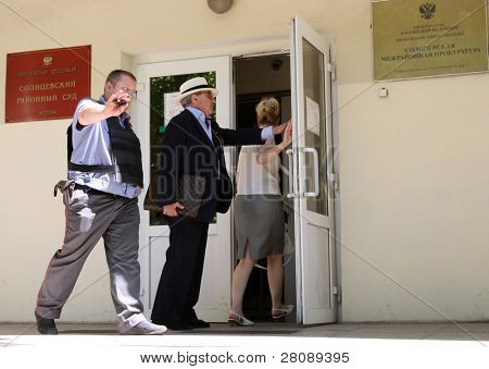 MOSCOW - JUNE 29: Counsel Alexander Dobrovinsky in Solntsevskiy court before hearing of business of billionaire Rustam Tariko, June 29, 2010 in Moscow, Russia.
