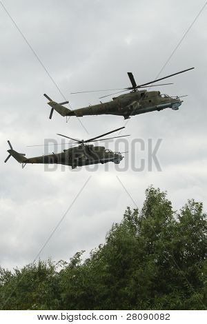 KOSTROMA REGION - AUGUST 26: Helicopters on the Command post exercises with 98-th Guards Airborne Division, August 26, 2010 in Kostroma region, Russia.