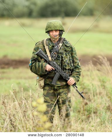 KOSTROMA REGION - AUGUST 26: Paratrooper-saboteur on the Command post exercises with 98-th Guards Airborne Division, August 26, 2010 in Kostroma region, Russia.