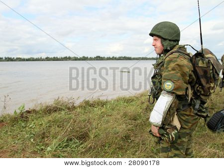 KOSTROMA REGION - AUGUST 26: Paratroopers-saboteurs on the Command post exercises with 98th Guards Airborne Division, August 26, 2010 in Kostroma region, Russia.